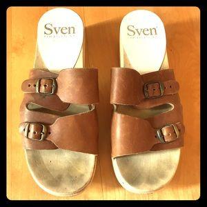 ☀️SVEN Clog sandals double buckle ~ brown / tan